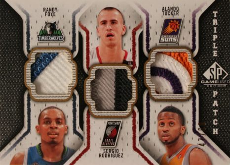 2009-10 SP Game Used Triple Patch #TPFRT Sergio RodriguezAlando TuckerRandy Foye 3
